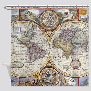 Vintage Map of The World (1626) Shower Curtain